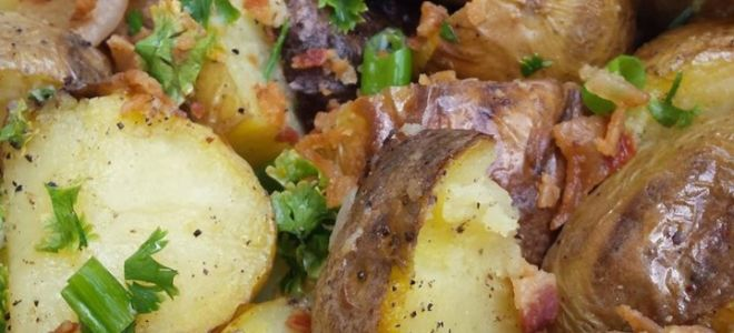Картофель с зеленью на мангале